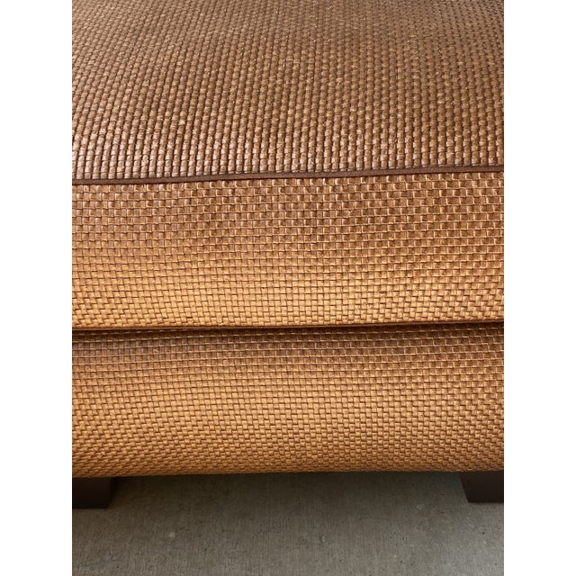 Donghia Leather Woven Ottoman For Sale In San Diego - Image 6 of 11