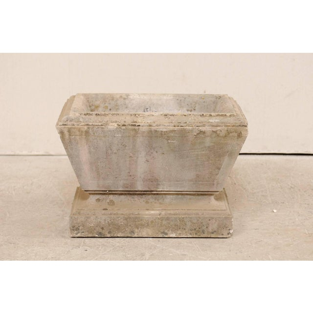 Stone European Hand-Carved Rectangular Tapered Stone Planter For Sale - Image 7 of 8