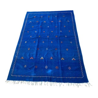 Moroccan Vintage Flat-Weave Majorelle Cobalt Blue Kilim Rug For Sale