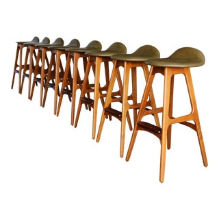 Mid-Century Modern Erik Buch Leather and Rosewood Bar Stools - Set of 8