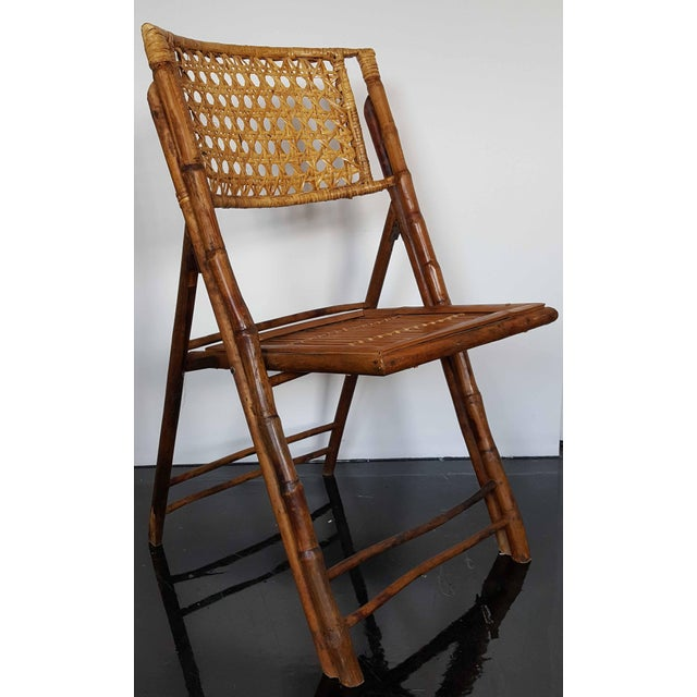 Rattan & Bamboo Folding Chairs - A Pair For Sale - Image 9 of 10
