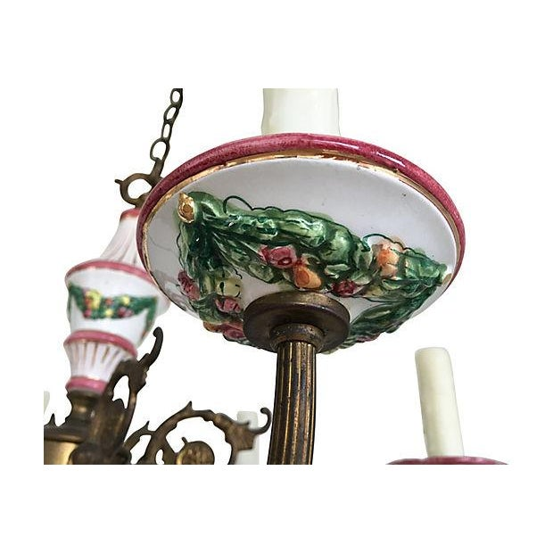 1940s French Porcelain Chandelier For Sale - Image 4 of 6