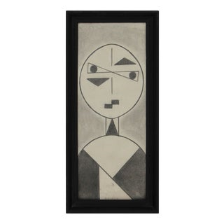 Cubist Style Graphite Drawing by Ruby Marsh C 1971 For Sale