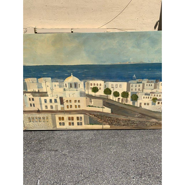 Monumental Oil Painting Mykonos Island Greece Signed by G.Tsitsilianos 1986 For Sale - Image 9 of 13
