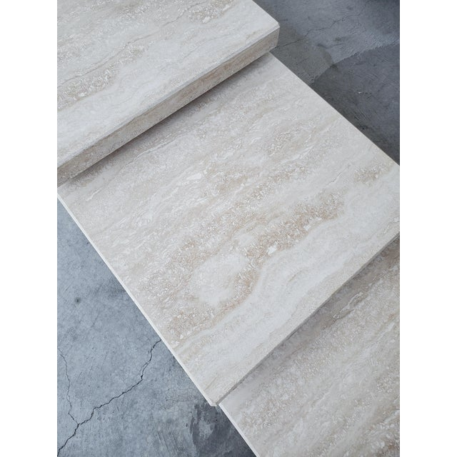 Set of 3 Square Tiered Italian Travertine Bunching Tables For Sale In Las Vegas - Image 6 of 8