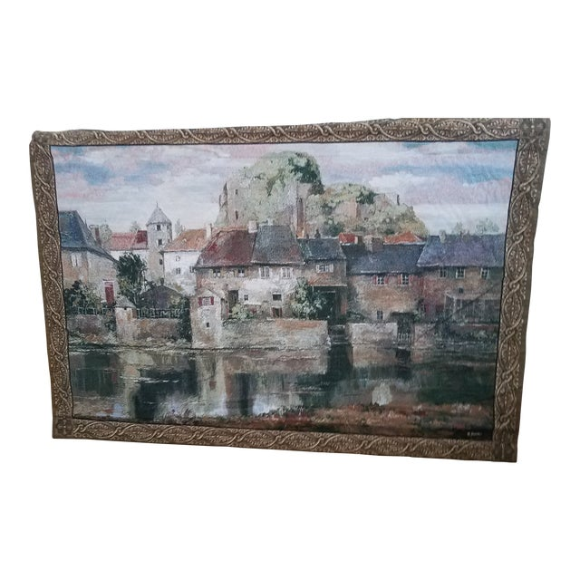 """Vintage """"Mohawk"""" Classic Collection Roger Duvall Tapestry of La Seyne Sur Mer For Sale"""