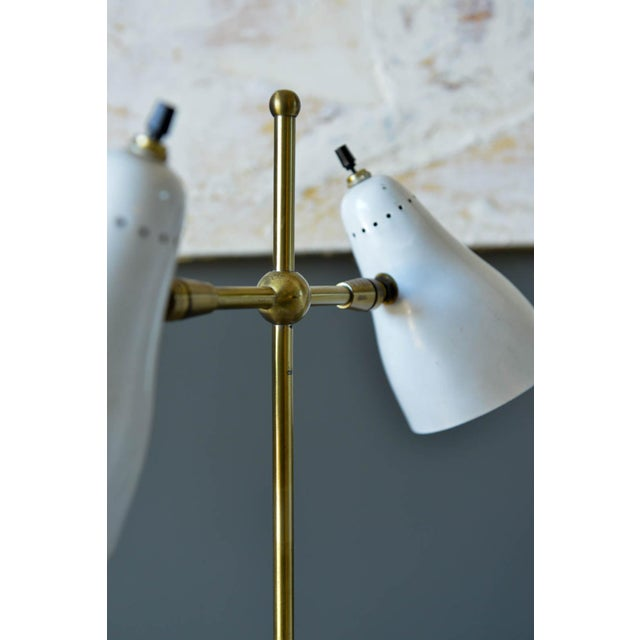 Metal Vintage White and Brass Italian Two-Arm Table Lamp, Circa 1960 For Sale - Image 7 of 9