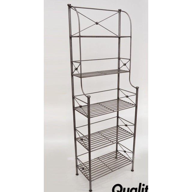 Pier 1 Medici Collection Pewter Iron Bakers Rack Shelf / Bathroom Stand Etagere For Sale - Image 11 of 11