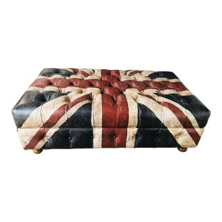 Timothy Oulton Custom Union Jack Leather Ottoman