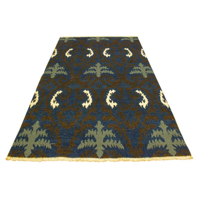 Cianna Modern Ramonita Blue/Ivory Wool & Viscouse Rug - 4'1 X 6'3 For Sale In New York - Image 6 of 8