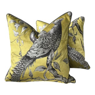 Zoffany Darnley Toile-Tigers Eye Chartreuse and Gray Down Filled Pillows - a Pair For Sale