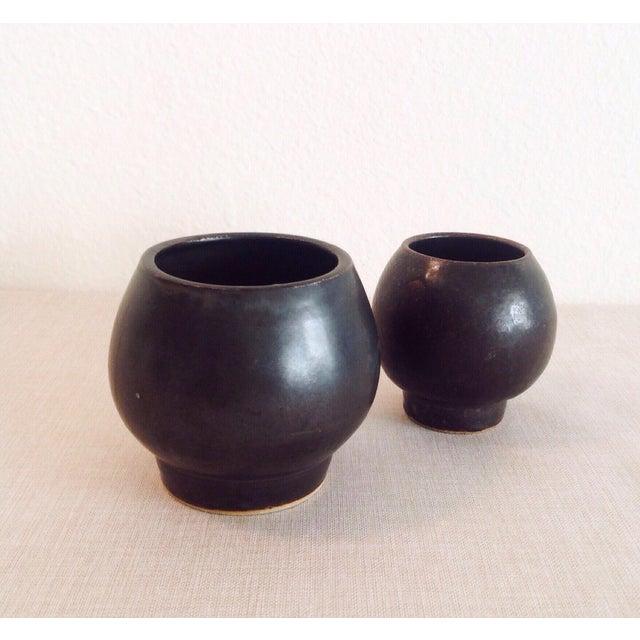 Ceramic Boho Chic Modern Black Sphere Stoneware Vase/Planter For Sale - Image 7 of 8
