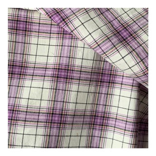 "Vintage French Purple Plaid Fabric - 45x56"" For Sale"