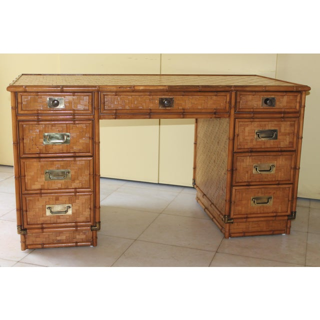 1960s Vintage Bamboo Campaign Style Writing Desk For Sale - Image 12 of 13