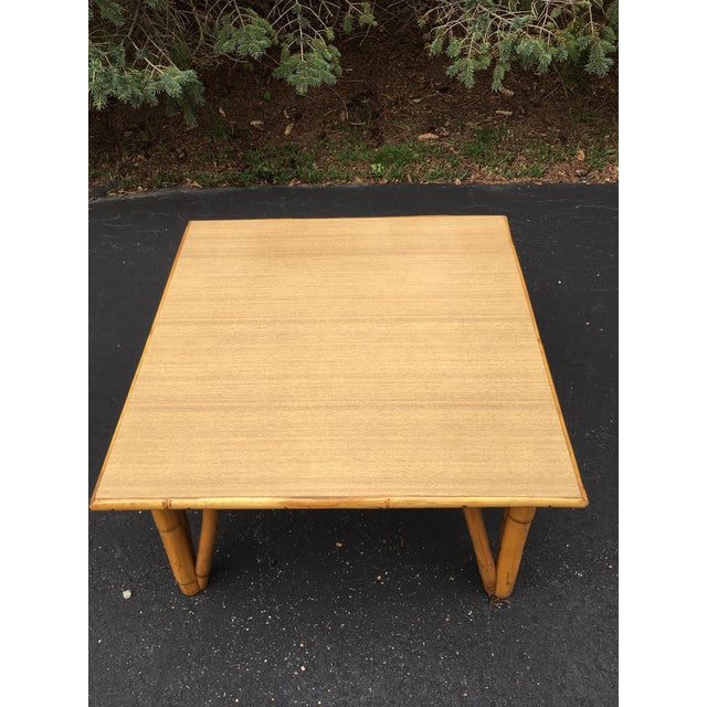 Vintage Rattan Square Coffee Table For Sale - Image 4 of 4
