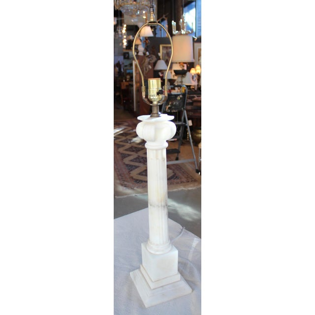 Vintage Neoclassical Marble Column Lamp - Image 2 of 7