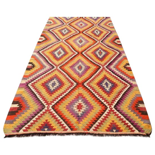 Vintage Turkish Kilim Rug - 5′5″ × 11′ For Sale