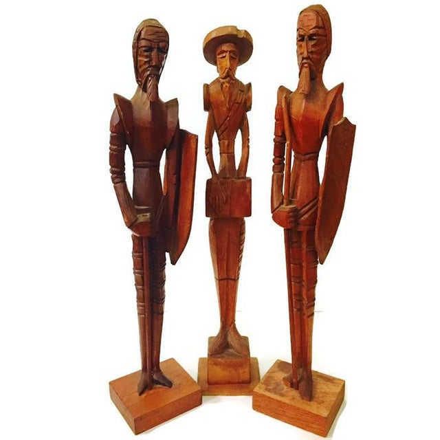 Mid Century Wood Carved Don Quixote Statues - Set of 3 For Sale - Image 5 of 6