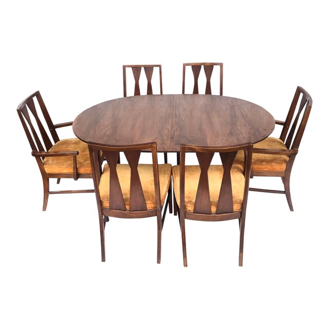 Mid-Century Dining Set With Large Table and Six Chairs For Sale