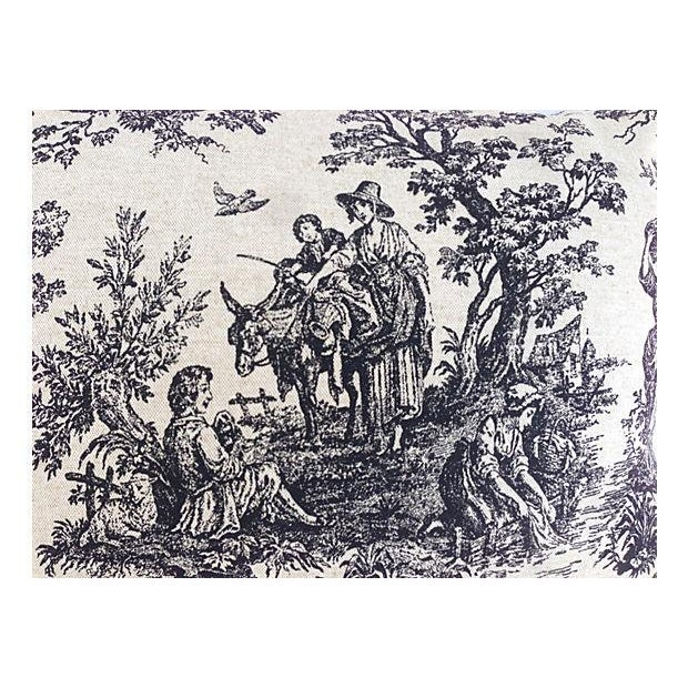 French Country Toile Pillows - Set of 3 For Sale - Image 4 of 5
