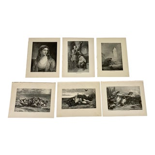 1892 Antique Characters From the Works of Lord Byron Poetry Prints - Set of 6 For Sale