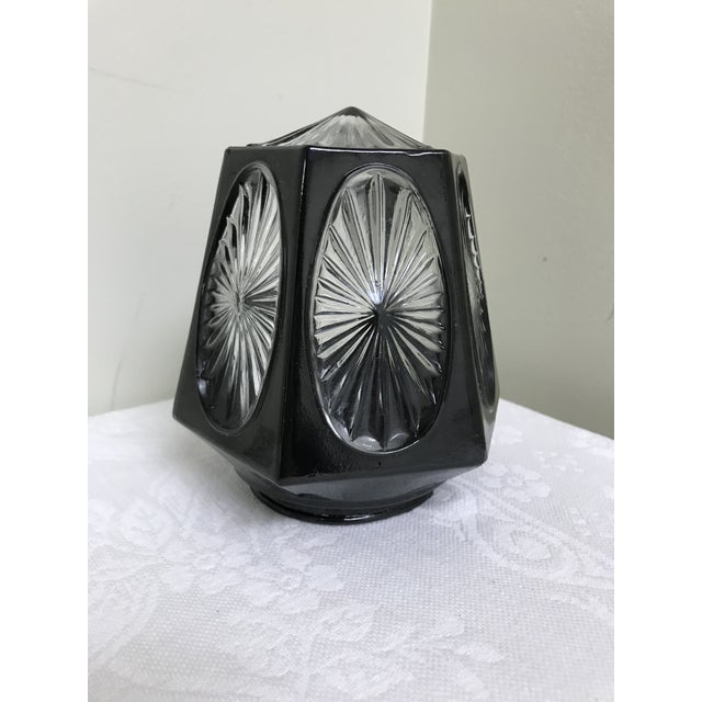 Art Deco 1950s Vintage Black & Clear Glass Hexagon Sconce Shade For Sale - Image 3 of 8