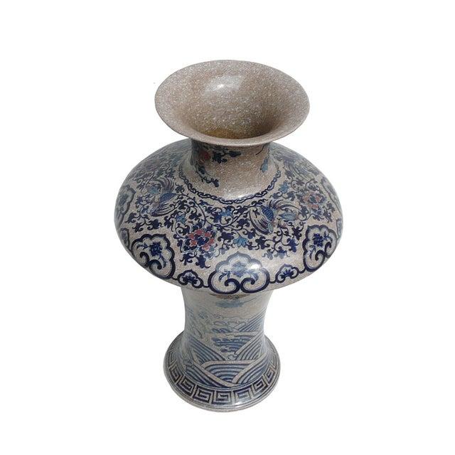 Chinese Asian Crackle Base Blue Red Porcelain Vase - Image 3 of 6
