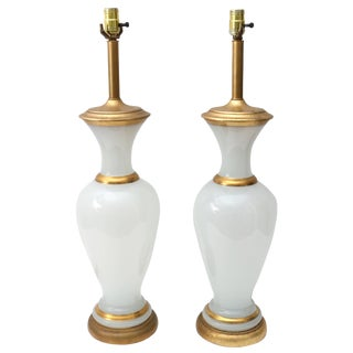 Mid-Century Hollywood Regency Opaline Glass Gold Leaf Table Lamps - a Pair For Sale