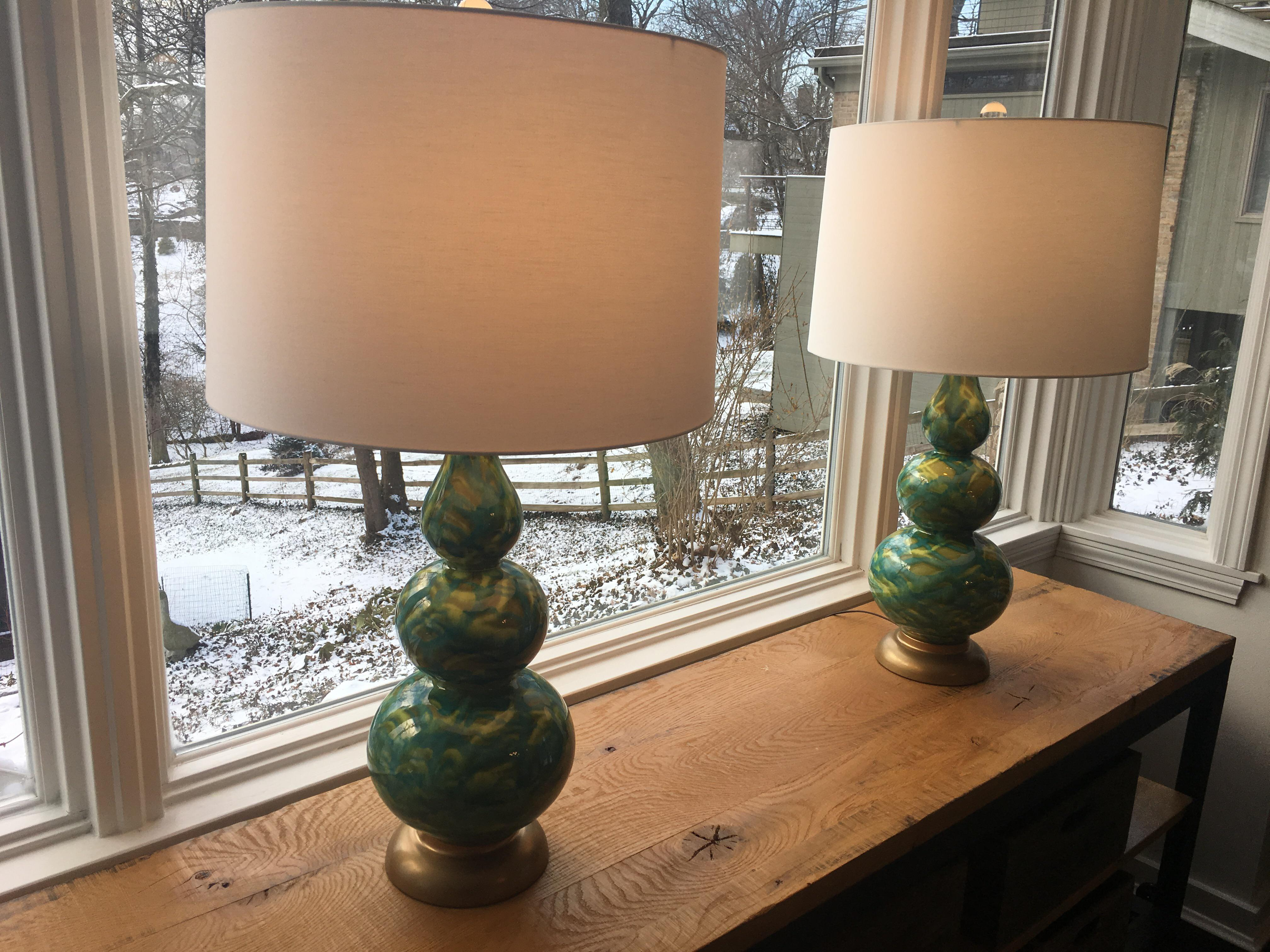 Green Blue Gourd Table Lamps, 1960s   A Pair   Image 5 Of 5