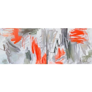"""""""Krakatoa"""" by Trixie Pitts XL Diptych Abstract Expressionist Oil Painting For Sale"""