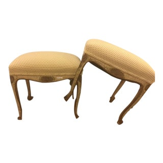 French Carved and Painted Stools with Gilt - A Pair For Sale