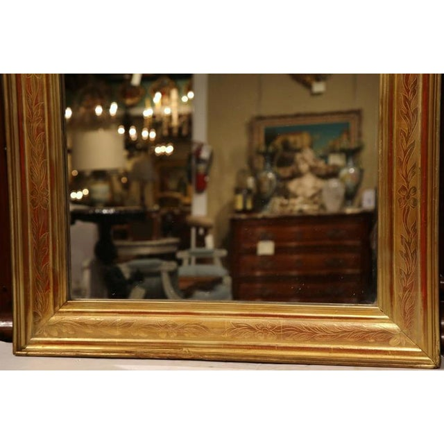 Mid-19th Century French Louis Philippe Gold Leaf Floral Design Mirror For Sale - Image 5 of 7