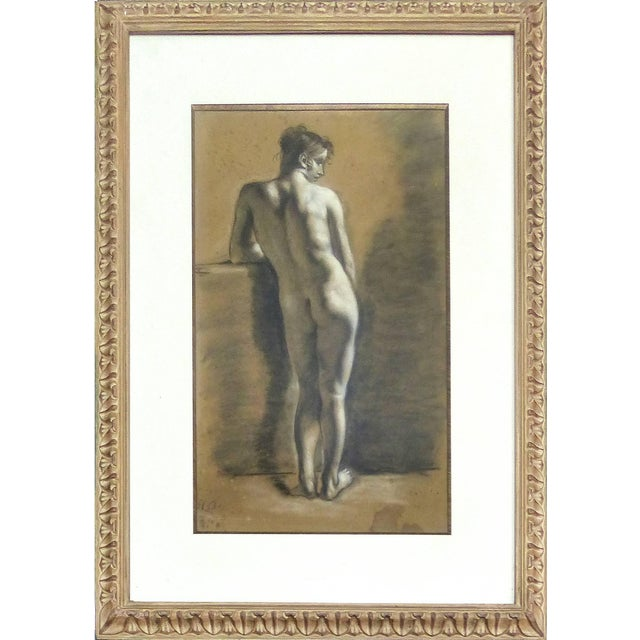 Figurative Drawings of Male Nude Figures Attributed to Francois Boucher, Circa 1750 - a Pair For Sale - Image 3 of 11