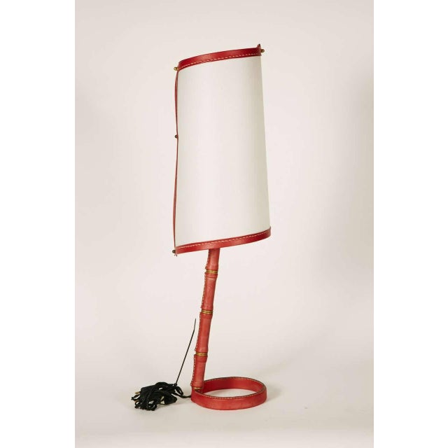 Nice stitched leather table lamp.