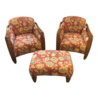 Art Deco Club Chairs and Matching Ottoman -Set of 3 For Sale