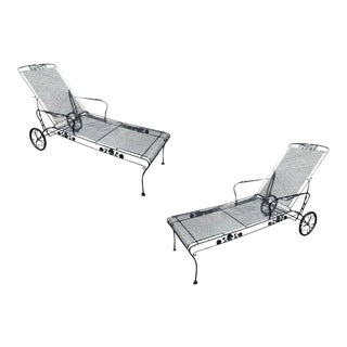 Russell Woodard Wrought Iron Lounge Chairs - a Pair For Sale