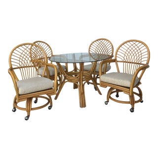 Vintage Glass Top Rattan Table and Wheeled Chairs Set - Set of 5 For Sale