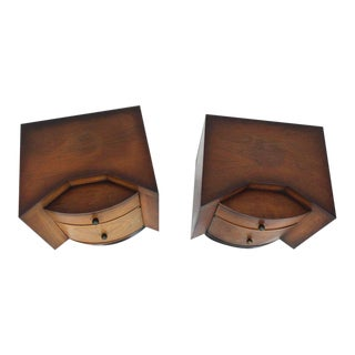 Mid-Century Modern Deco Full Bodied Design End Tables Brass Pulls - a Pair For Sale