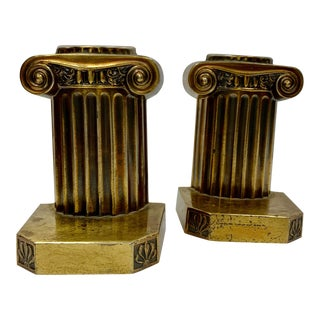 Mid 20th Century Brass Pillar Pm Craftsman Bookends - a Pair For Sale