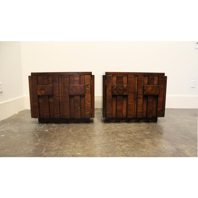 Brutalist Pair of 1970s Mid-Century Modern Brutalist Nightstands by Lane For Sale - Image 3 of 8