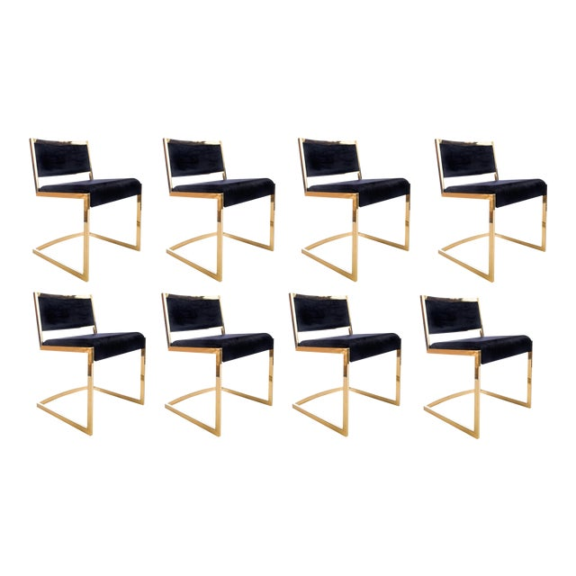 Metal Bradley Gold and Black Dining Chairs - Set of 8 For Sale - Image 7 of 8