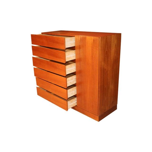Wood Danish Modern Teak Storage Gents Chest Dresser For Sale - Image 7 of 10