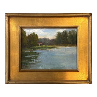 Contemporary Summer Landscape Oil Painting by Jillian Collins, Framed For Sale