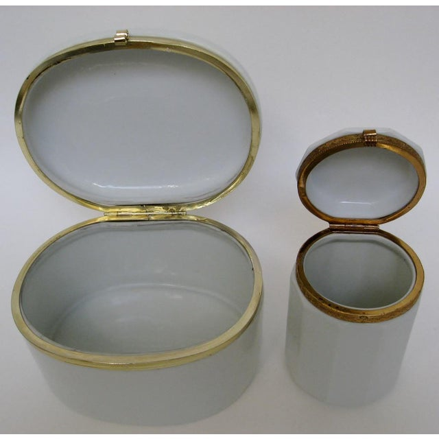 Late 20th Century White Porcelain Canisters - A Pair For Sale - Image 5 of 6