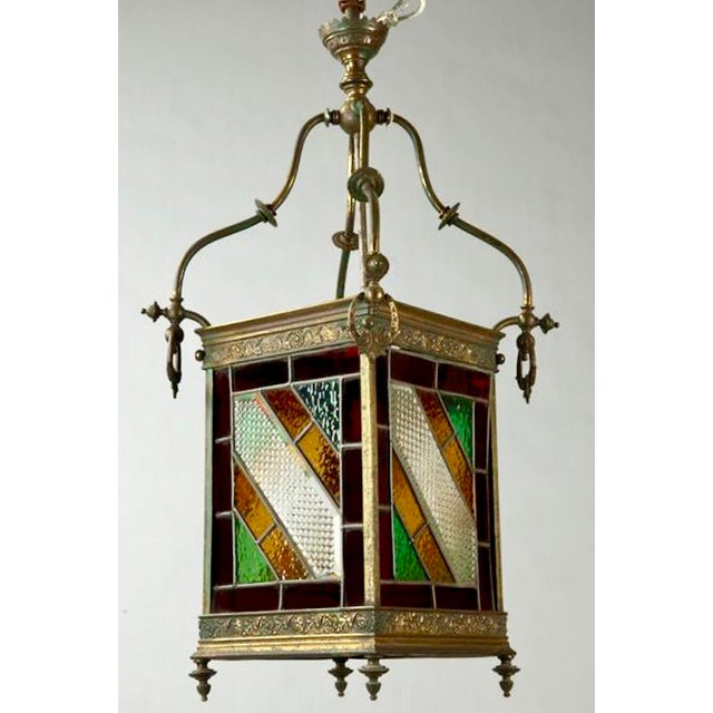 English Traditional Victorian Brass and Stained Leaded Glass Hanging Hall Lantern c.1890 For Sale - Image 3 of 6