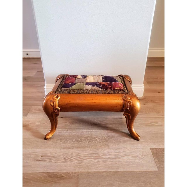 Antique Asian Gilt Bronze Cast Iron Upholstered Stool For Sale - Image 10 of 11