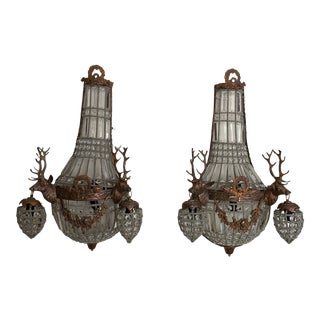 Spanish Crystal Sconce with Copper Deer Head Ornaments - Pair of 2 For Sale