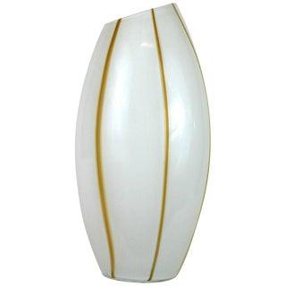 Seguso White and Caramel Stripe Glass Vase For Sale