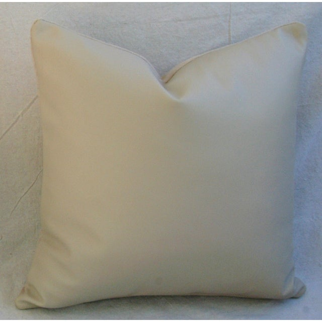 "Genuine Italian Sandy Putty Colored Soft Leather Feather/Down Pillow 20"" Square For Sale - Image 4 of 4"