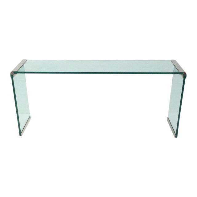 Nickel and Glass Console Table by Leon Rosen for Pace Collection For Sale